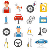 Car Repair Service Flat Icons Set Stock Image