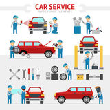 Car repair service flat vector illustration. Infographic elements. People repairing cars and make tuning. Changing a. Wheel, painting, glass replacement vector Royalty Free Stock Photo