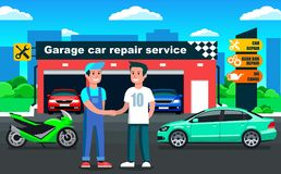 Car repair service in garage outdoor view with client meeting & handshake. Car repair service in garage outdoor view with client meeting Stock Images