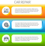 Car-repair-service-horizontal-banner-set Royalty Free Stock Photos