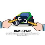 Car Repair Service Icon Auto Mechanic Shop Or Center Over Backgroud With Copy Space. Vector Illustration royalty free illustration