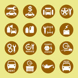 Car repair and service icon set white in gold Stock Image