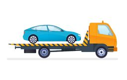 Tow truck is transporting car to service center, fine-parking lot. Car repair and service. Mechanic repairs and diagnostics car and equipment. Work in auto stock illustration