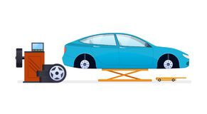 Car repair. Car service. Replacement of tires, wheels, car parts. Royalty Free Stock Image