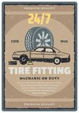 Car repair service retro banner, tire shop design. Car repair shop vintage banner of tire fitting service template. Car standing on lifting jack with tire and vector illustration