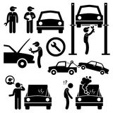 Car Repair Services Workshop Mechanic Icons royalty free illustration