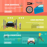Car repair shop concept vector banners. Auto mechanic with equipment and tools. Garage service Stock Photos
