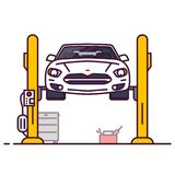 Car and repair shop. Car repair garage. Front view of white luxury sedan car on car lift. Line style vector illustration. Vehicle and transport repair banner royalty free illustration