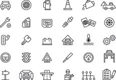 Car repair shop icons. Set of 30 black outline car repair shop icons, isolated on a white background Stock Photos