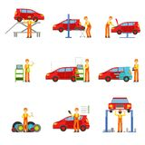 Car Repair Shop Services Set Of Illustrations. Mechanic At Work In The Garage Bright Color Simplified Cartoon Style Drawings On White Background Stock Image