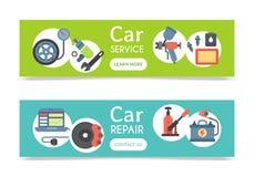 Car repair station banner mechanic vehicle auto garage service vector illustration. Transportation technician mechanical. Inspection engine shop. Automotive royalty free illustration