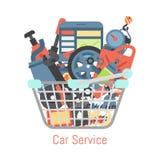 Car repair station basket mechanic vehicle auto garage service vector illustration. Transportation technician mechanical. Car repair station basket banner vector illustration