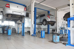 Car repair station. Russia, Tula, July, 8, 2015: Interior of a car repair station in Tula, Russia Royalty Free Stock Photography