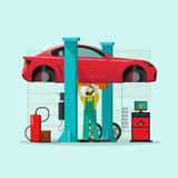 Car repair station vector illustration, mechanic man repairing automobile in workshop garage Stock Image