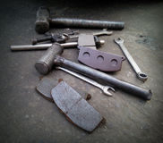 Car Repair Tools on black street Royalty Free Stock Images