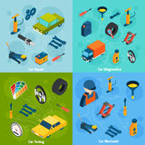 Car Repair And Tuning Isometric Icons Stock Images