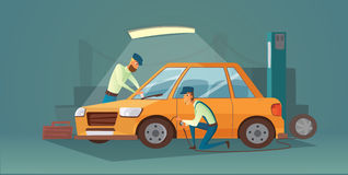 Car repair vector illustration. Workers in car service tire service and auto business. Cartoon garage Royalty Free Stock Images