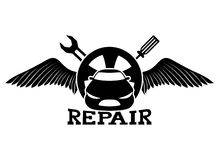 Car repair. Vector sign isolated on white background. Car repair Royalty Free Stock Photos