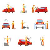 Car Repair Workshop Services Set Of Illustrations. Mechanic At Work In The Garage Bright Color Simplified Cartoon Style Drawings On White Background Royalty Free Stock Photo