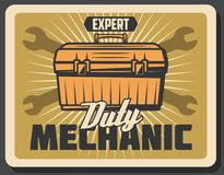 Mechanic services for car repairment vector poster Royalty Free Stock Photography