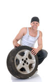Car repairman with wheel Royalty Free Stock Images