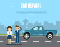 Car repairs banner with people near broken pickup Stock Image