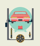 Car Repairs in the Service Station on the Lift. Vector Illustration Stock Images