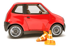 Car Reparing. 3d illustration of construction cone with car against white Stock Photos