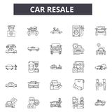 Car resale line icons for web and mobile design. Editable stroke signs. Car resale  outline concept illustrations. Car resale line icons for web and mobile stock illustration
