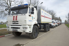 Car rescue emergency center on the basis of KAMAZ-43118. SAINT PETERSBURG, RUSSIA - MAY 05, 2015: Car rescue emergency center on the basis of KAMAZ-43118 stock photography