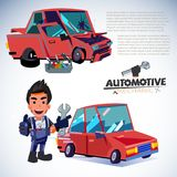 Car restore. before and after. car fix by Automotive mechanic ch. Aracter design -  illustration Royalty Free Stock Images