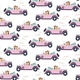 Car retro cute girl seamless pink pattern wallpaper. Vintage kids backround. Retro race cartoon cars with funny dogs kids wallpaper pattern stock illustration
