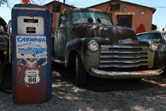 Car and retro gas station in Seligman Route 66