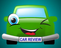 Car Review Means Motor Inspection And Feedback. Car Review Showing Evaluating Vehicles And Evaluation Stock Photo