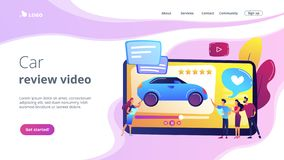 Car review video concept landing page. royalty free stock photo