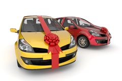 Car in ribbon gift Royalty Free Stock Image