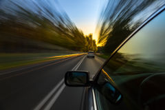 Car ride on road Stock Images