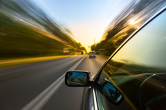 Car ride on road stock photography