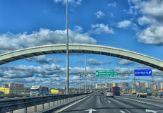 The car rides on the outer ring of the Ring Road. Royalty Free Stock Photos