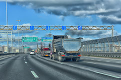 The car rides on the outer ring of the Ring Road. Royalty Free Stock Images