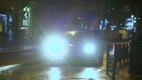 Car Riding in night city with on leds stock video