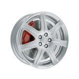 Car rim with brake isolated 3d model Stock Photo