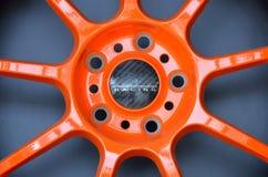Car rim. Orange car rim for sports car Royalty Free Stock Photos