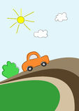 Car on road. Little car on road, vector background for kids Stock Photo