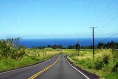 Car on the road. Lonely car on the road on Big Island, Hawaii Royalty Free Stock Image