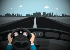Car on the Road with City Skyline on Background. Vector royalty free illustration