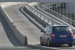 Car on road. Car climbing on a highway stock images