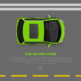 Car on Road Conceptual Flat Vector Web Banner. Car on road conceptual web banner. Green mini car goes on highway flat style vector illustration. Modern urban Royalty Free Stock Photography