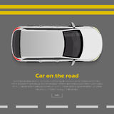 Car on Road Conceptual Flat Vector Web Banner. Car on road conceptual web banner. Grey hatchback goes on highway flat style vector illustration. Modern urban Stock Images