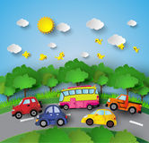 Car on road stock illustration
